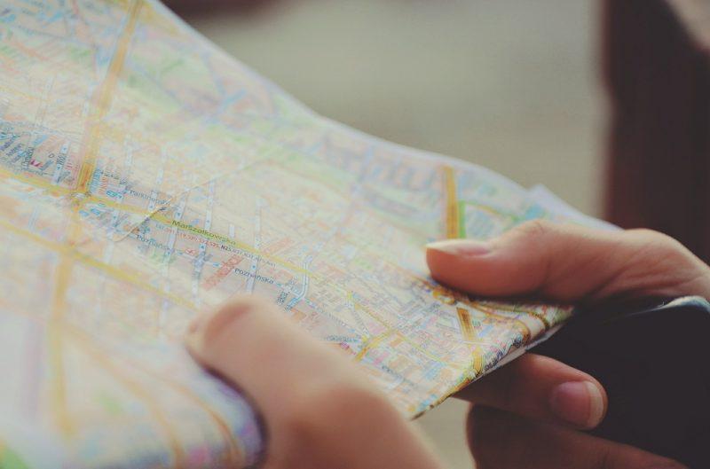 地図があるとどこに行けばいいかが分かる。