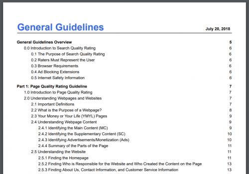 GoogleのQuality Raters' Guideline